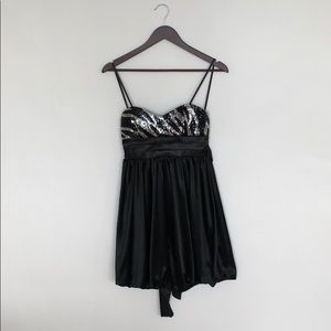 Black & silver sequinned cocktail dress